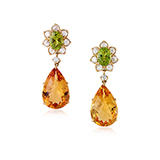 PAIR OF CITRINE, PERIDOT AND DIAMOND EARRINGS -    - Fine Jewels: Ode to Nature