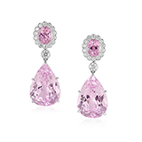 PAIR OF KUNZITE AND DIAMOND EARRINGS -    - Fine Jewels: Ode to Nature