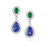 PAIR OF TANZANITE, EMERALD AND DIAMOND EARRINGS -    - Fine Jewels: Ode to Nature