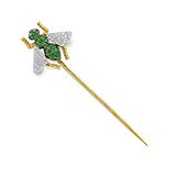TSAVORITE AND DIAMOND PIN -    - Fine Jewels: Ode to Nature