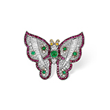 DIAMOND,EMERALD AND RUBY 'BUTTERFLY' BROOCH -    - Fine Jewels: Ode to Nature