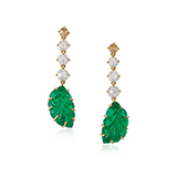 PAIR OF CARVED EMERALD AND DIAMOND EARRINGS -    - Fine Jewels: Ode to Nature