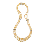 THREE STRAND NATURAL PEARL NECKLACE WITH BOUCHERON CLASP -    - Fine Jewels: Ode to Nature
