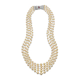 FIVE STRAND NATURAL PEARL AND DIAMOND NECKLACE -    - Fine Jewels: Ode to Nature