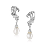 PAIR OF NATURAL PEARL AND DIAMOND EARRINGS -    - Fine Jewels: Ode to Nature
