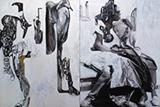 Migrants and Scafoldings - Probir  Gupta - Art Rises for Kerala Live Fundraiser Auction