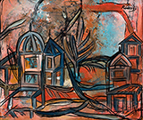 Untitled (Red Landscape with Dome) - Lancelot  Ribeiro - Winter Online Auction