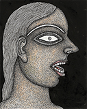 Girl with Red Lips - Jogen  Chowdhury - WORKS ON PAPER
