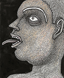 Man with Protruding Tongue - Jogen  Chowdhury - WORKS ON PAPER