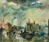 S H Raza-Flora Fountain in Monsoon