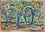 F N Souza-Trees in Moonlight