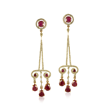 A PAIR OF RUBY AND DIAMOND PYRAMID EARRINGS