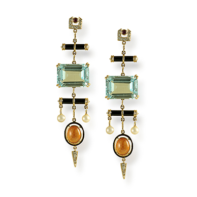 A PAIR OF BLUE TOPAZ AND SPESSARTITE GARNET 'DECO WINDCHYME' EARRINGS