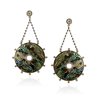 A PAIR OF ABALONE AND DIAMOND 'DRAMATIQUE' EARRINGS