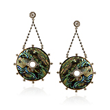 -A PAIR OF ABALONE AND DIAMOND 'DRAMATIQUE' EARRINGS