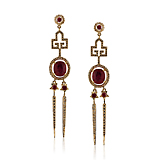 -A PAIR OF RUBY AND DIAMOND 'ICE PICK DECO' EARRINGS