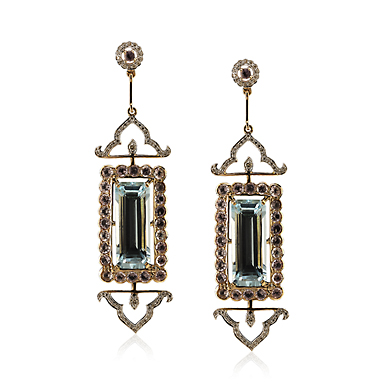 A PAIR OF BLUE TOPAZ AND DIAMOND 'MOGHULICIOUS FRAME' EARRINGS