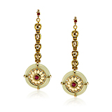 "-A PAIR OF CHALCEDONY, DIAMOND AND RUBY KANAUTI ""MOGHULICIOUS' EARRINGS"