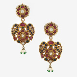 -A MAGNIFICENT PAIR OF RUBY AND EMERALD 'PARROT' EAR PENDANTS