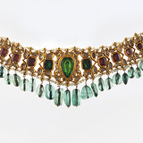 -AN EMERALD BEAD NECKLACE