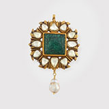 -AN EMERALD, DIAMOND AND PEARL PENDANT