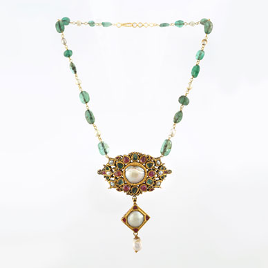 A PEARL, EMERALD AND RUBY PENDANT