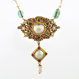 -A PEARL, EMERALD AND RUBY PENDANT