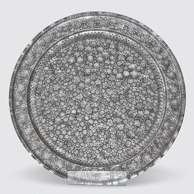"Kashmir Circular Tray in ""Coriander"" Pattern"