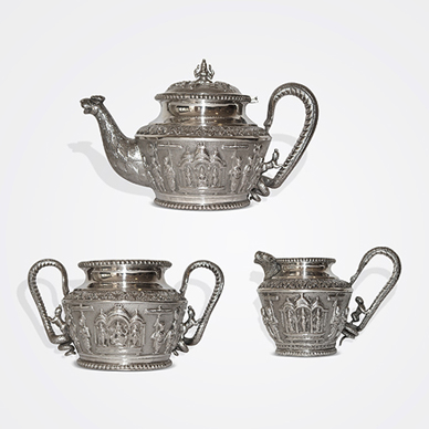"""Madras Three Piece """"Swami Ware"""" Tea Set, Attributed to P.Orr & Sons"""