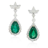 -A PAIR EMERALD AND DIAMOND EAR PENDANTS