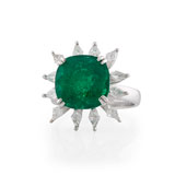 -A COLOMBIAN EMERALD AND DIAMOND 'FLOWER' RING