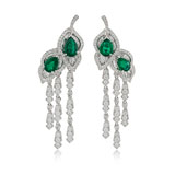 -A PAIR OF DIAMOND AND EMERALD LEAF EAR PENDANTS