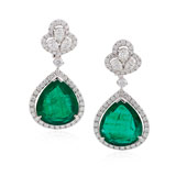 -A MAGNIFICIENT EMERALD AND DIAMOND EAR PENDANTS