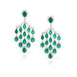 -AN ELEGANT PAIR OF EMERALD AND DIAMOND EAR PENDANTS