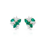 -A PAIR OF EMERALD AND DIAMOND EAR CLIPS