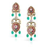 -A PAIR OF GEMSET EARRINGS