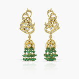 -A PAIR OF DIAMOND AND EMERALD EAR PENDANTS