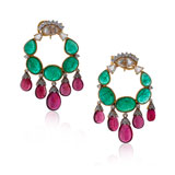 -A PAIR OF EMERALD RUBELLITE & DIAMOND EARRINGS