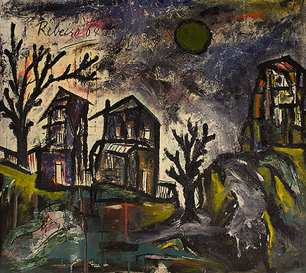 Untitled (Night Landscape with Trees and Moon)