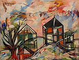 Lancelot  Ribeiro-Untitled (Landscape with Trees and Houses)