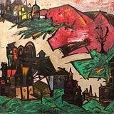 Lancelot  Ribeiro-Untitled (Landscape with Pink Hills)