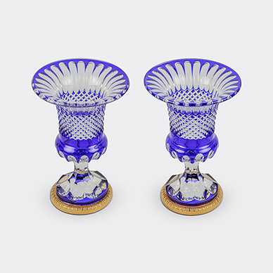 PAIR OF BOHEMIAN CUT GLASS VASES