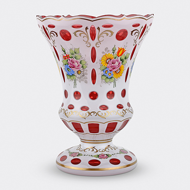 BOHEMIAN DOUBLE OVERLAY GLASS VASE
