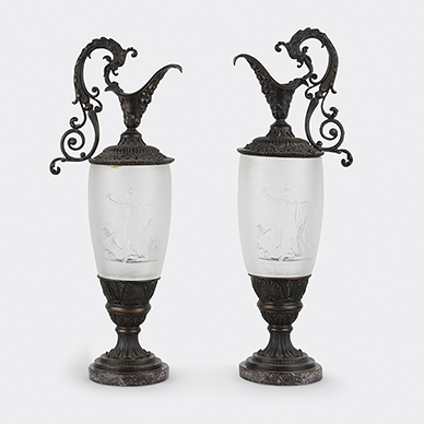 PAIR OF CRYSTAL AND PATINATED BRONZE EWERS BY LALIQUE