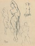 F N Souza-Untitled (Male nude studies)