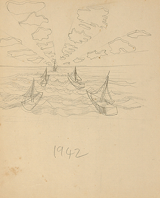 Untitled (Landscape with boats)