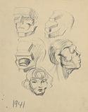 F N Souza-Untitled (Heads)