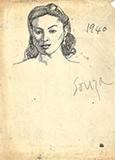 F N Souza-Untitled (Portrait)