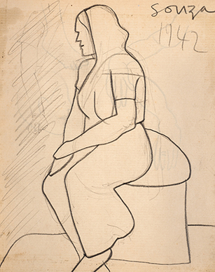 Untitled (Seated woman in sari) recto; Untitled verso