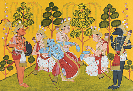 Lakshmana pulling out a Thorn from Rama's Foot